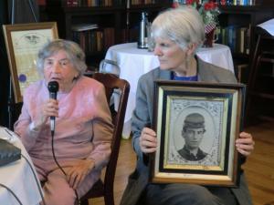 Vie Obern-a real granddaughter with Tori Blunt holding the photo of Martin Van Buren Hapeman